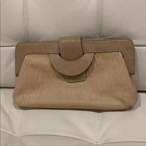 BCBG MAXAZRIA beige leather clutch